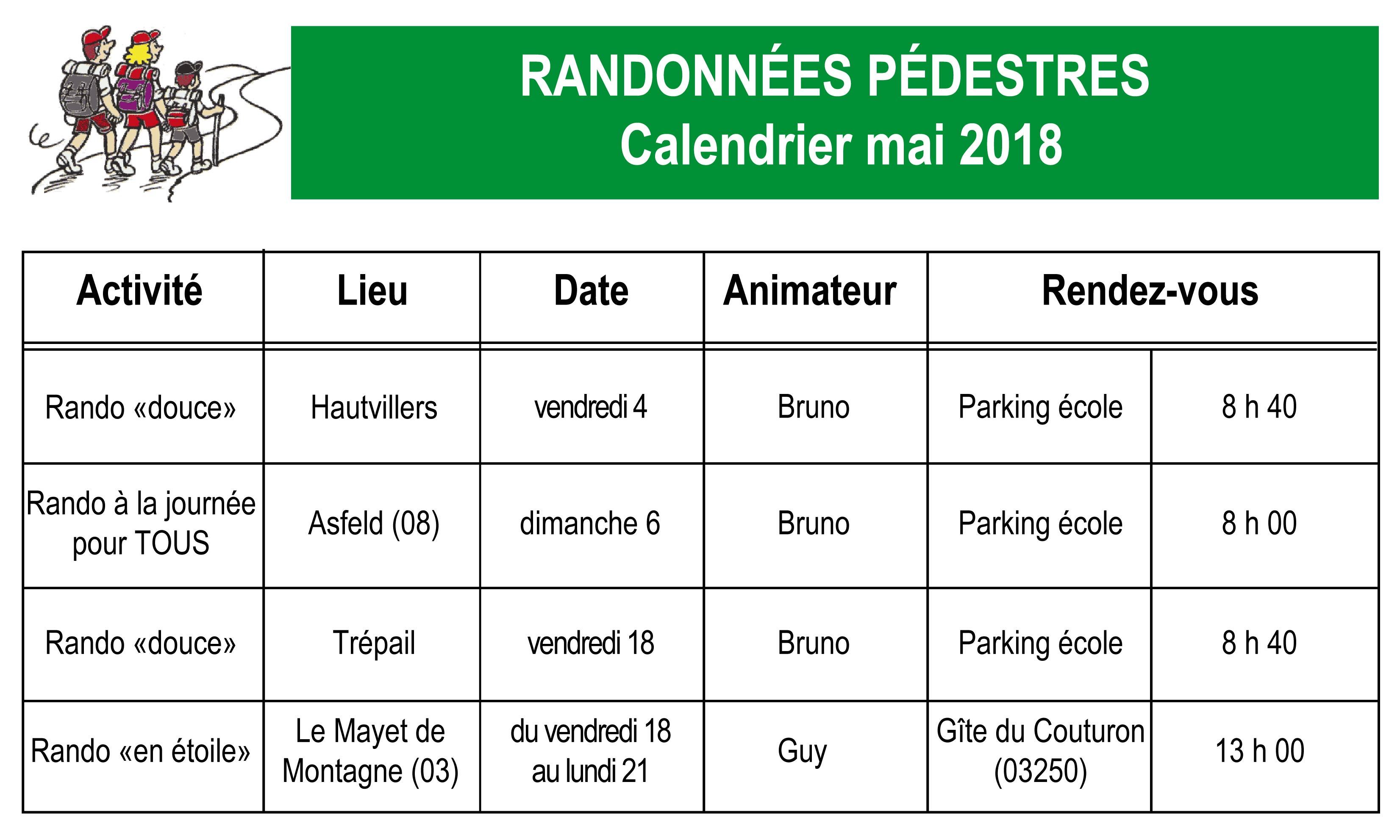 Le Calendrier Des Randonnees Pedestres Du Joli Mois De Mai 2018
